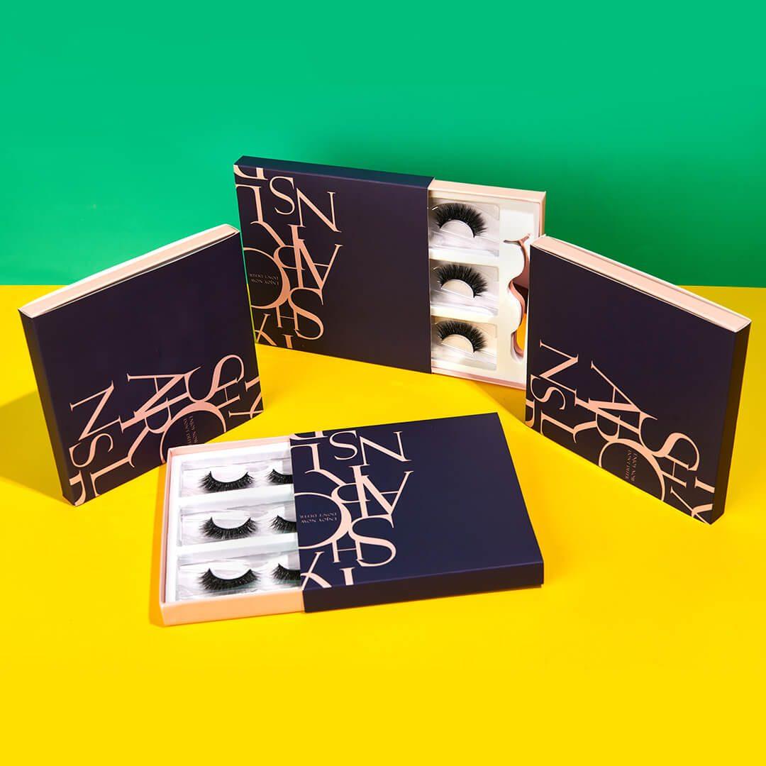 custom eyelash packaing box-sliding drawer boxes